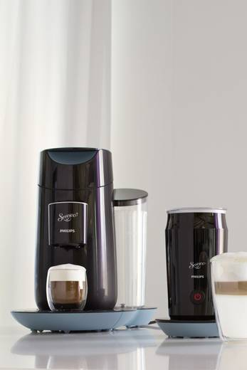 SENSEO® Twist & Milk - Misty Dawn & Schwarz + Milchaufschäumer im Set HD7874/60 Kaffeepadmaschine Schwarz mit Milchaufsc