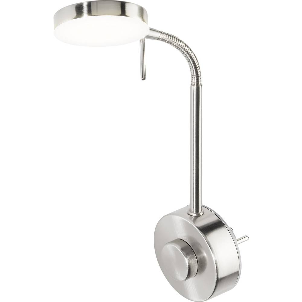 led-steckdosenlampe disk w004021 nickel (matt) led fest eingebaut im
