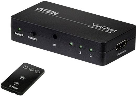 3 Port HDMI-Switch ATEN VS381 mit Fernbedienung 1920 x 1080 pix (Full HD)