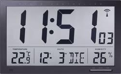 Digitální nástěnné DCF hodiny s teploměrem Jumbo, 370 x 230 x 30 mm, černá