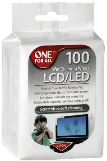 One For All SV 8405 Wet Cleaning Wipes Reinigungstücher LCD/LED 1 Pckg.