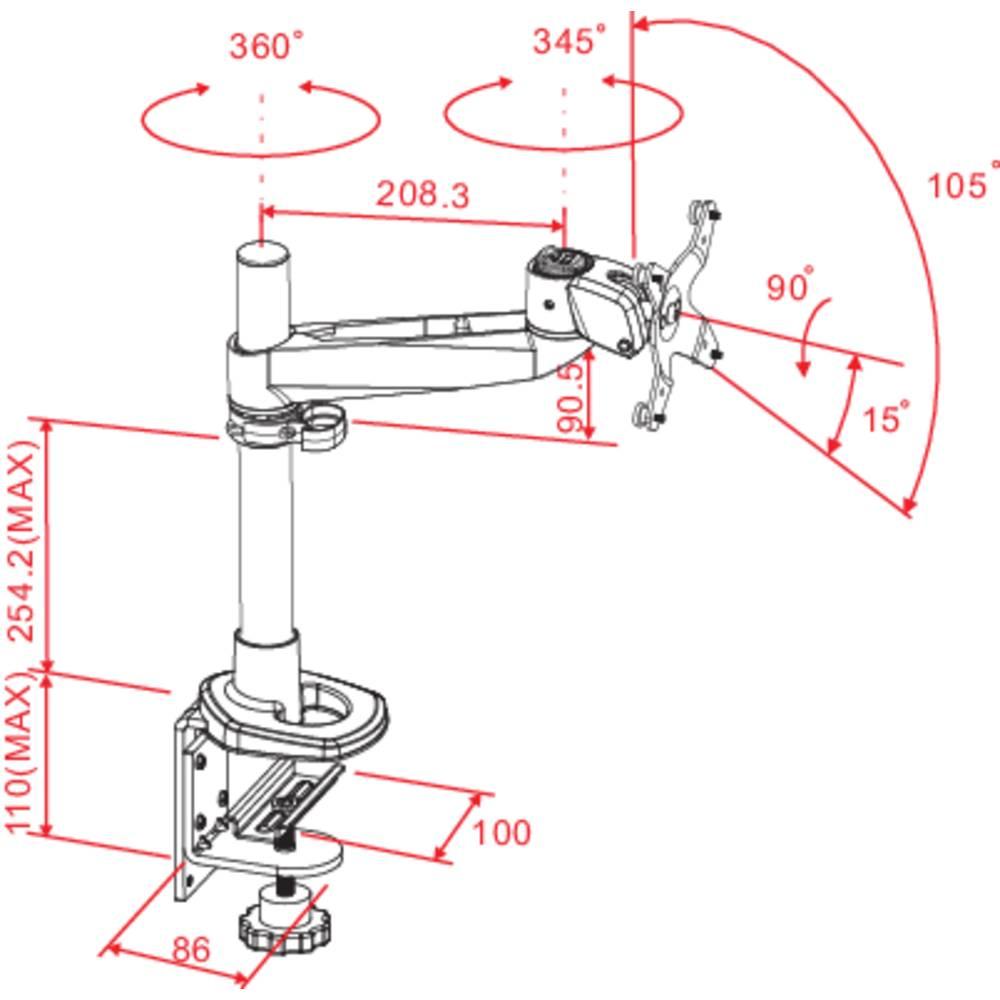 Supporto da tavolo per monitor 25 4 cm 10 76 2 cm 30 inclinabile girevole rotante - Supporto girevole per tavolo ...
