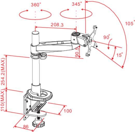 SpeaKa Professional Swivel Monitorhalter, Höhenverstellbar, Tischmontage mit Grommet- und C-Klemme