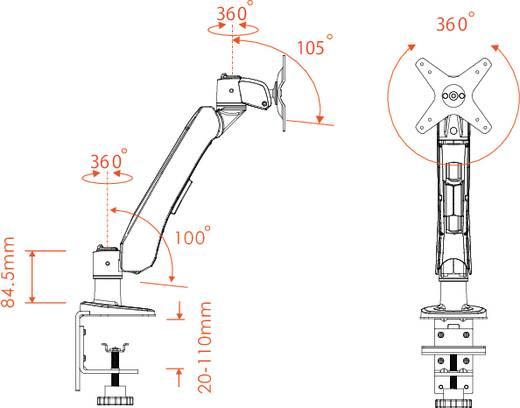 Xergo Flex Monitorhalter, Tischmontage mit Gasdruck-Technik mit Grommet- und C-Klemme