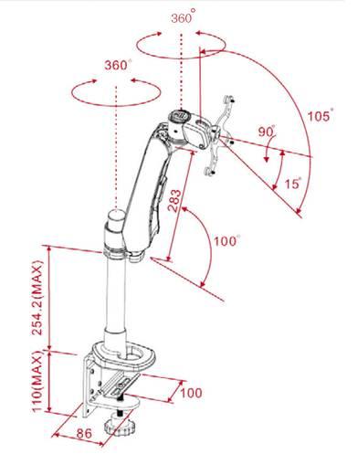 Xergo Flex Monitorhalter, Höhenverstellbar, Tischmontage mit Gasdruck-Technik mit Grommet- und C-Klemme