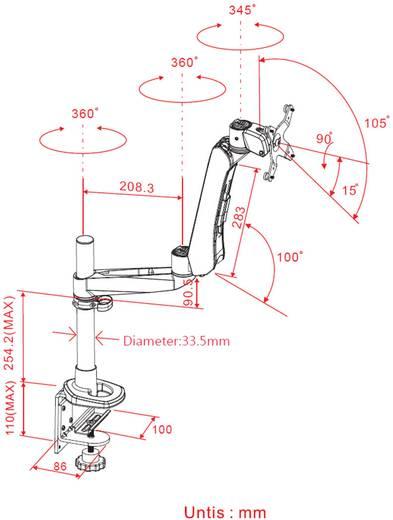 SpeaKa Professional SuperFlex Monitorhalter, Höhenverstellbar, Tischmontage mit Gasdruck-Technik mit Grommet- und C-Klem
