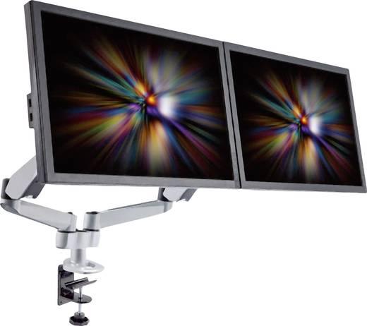 SpeaKa Professional SuperFlex 2fach Monitorhalter, Tischmontage mit Gasdruck-Technik mit Grommet- und C-Klemme