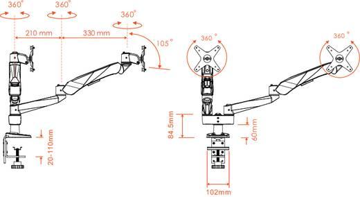 Xergo SuperFlex 2fach Monitorhalter, Tischmontage mit Gasdruck-Technik mit Grommet- und C-Klemme