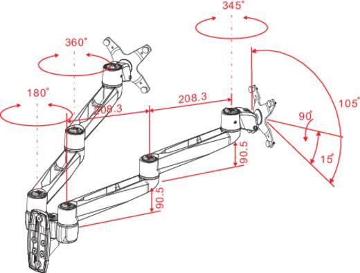 """2fach Monitor-Wandhalterung 25,4 cm (10"""") - 68,6 cm (27"""") Neigbar+Schwenkbar, Rotierbar SpeaKa Professional Swivel 2fach"""