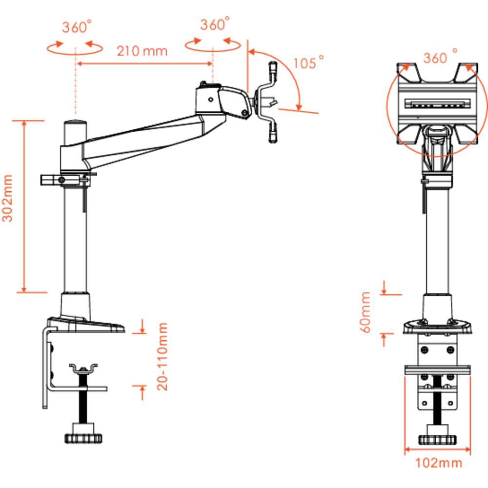 Supporto da tavolo per monitor 10 30 inclinabile girevole rotante xergo swivel in vendita - Supporto girevole per tavolo ...