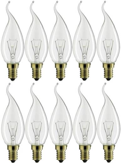 Glühlampe 114 mm Philips Lighting 230 V E14 15 W Warm-Weiß EEK: E Kerzenform Inhalt 10 St.