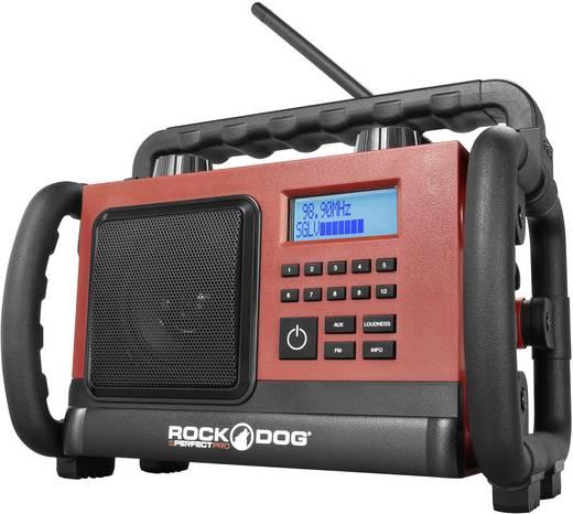 UKW Baustellenradio PerfectPro Rockdog AUX, UKW spritzwassergeschützt, staubdicht, stoßfest Rot
