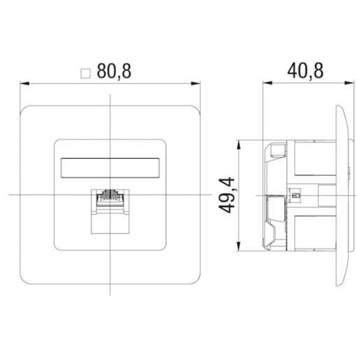 Netzwerkdose Unterputz Einsatz mit Zentralplatte und Rahmen CAT 6 1 Port Rutenbeck 138112030 Reinweiß