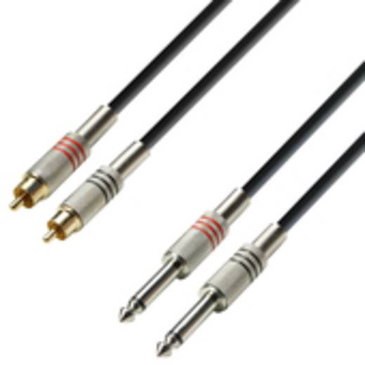 Audio Adapterkabel [2x Cinch-Stecker - 2x Klinkenstecker 6.35 mm] 3 m Schwarz Adam Hall