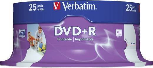 DVD+R Rohling 4.7 GB Verbatim 43539 25 St. Spindel Bedruckbar