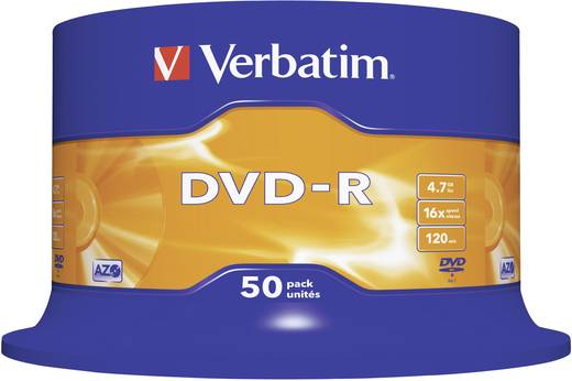 DVD-R Rohling 4.7 GB Verbatim 43548 50 St. Spindel