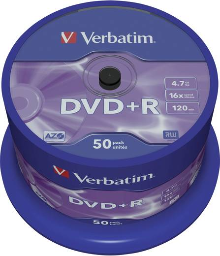 DVD+R Rohling 4.7 GB Verbatim 43550 50 St. Spindel