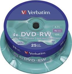 DVD-RW 4.7 GB Verbatim 43639, přepisovatelné, 25 ks, vřeteno