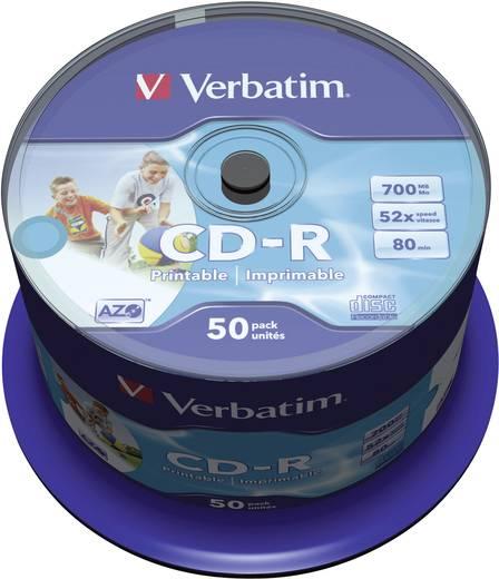CD-R 80 Rohling 700 MB Verbatim 43309 50 St. Spindel Bedruckbar