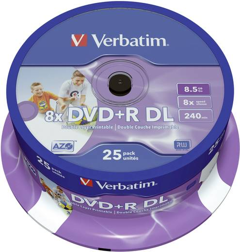 DVD+R DL Rohling 8.5 GB Verbatim 43667 25 St. Spindel Bedruckbar