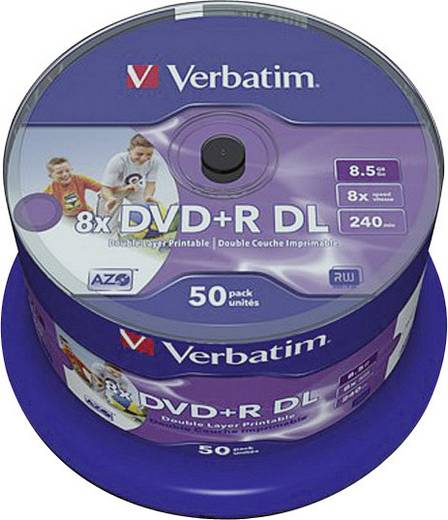 DVD+R DL Rohling 8.5 GB Verbatim 43703 50 St. Spindel Bedruckbar