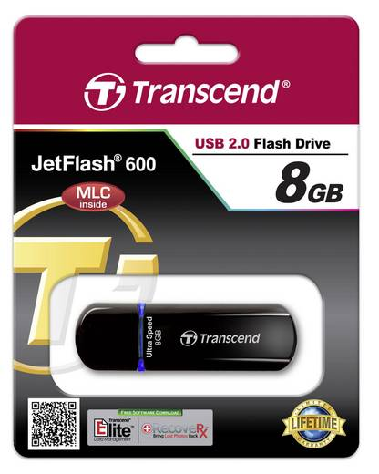 Transcend JetFlash® 600 USB-Stick 8 GB Blau TS8GJF600 USB 2.0