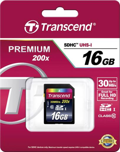 Transcend Premium SDHC-Karte 16 GB Class 10