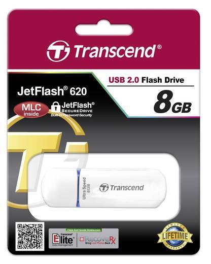 USB-Stick 8 GB Transcend JetFlash® 620 Weiß TS8GJF620 USB 2.0