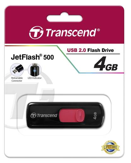 USB-Stick 4 GB Transcend JetFlash® 500 Rot TS4GJF500 USB 2.0