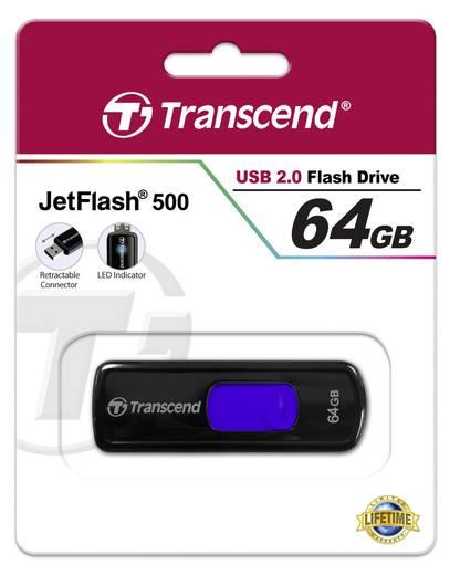 USB-Stick 64 GB Transcend JetFlash® 500 Schwarz TS64GJF500 USB 2.0