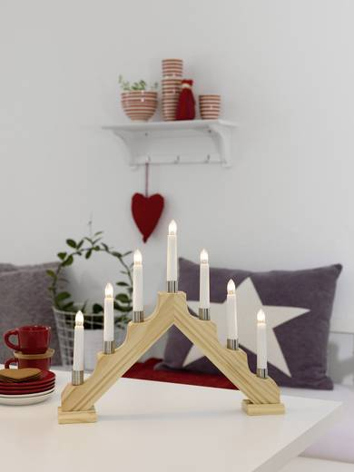 Tisch-Dekoration Holzleuchter Warm-Weiß Glühlampe Konstsmide 1041-100 Natur