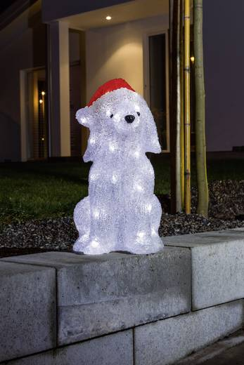 Acryl-Figur Welpe Kalt-Weiß LED Konstsmide 6182-203 Weiß, Rot