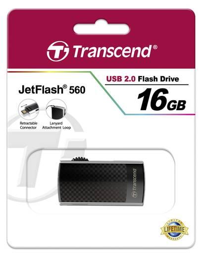 USB-Stick 16 GB Transcend JetFlash® 560 Silber TS16GJF560 USB 2.0