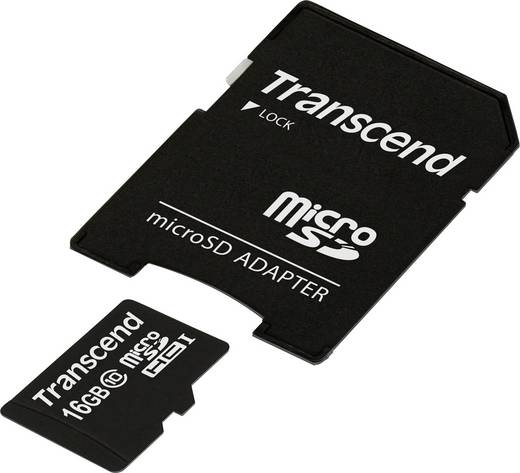 microSDHC-Karte 16 GB Transcend Premium Class 10, UHS-I inkl. SD-Adapter