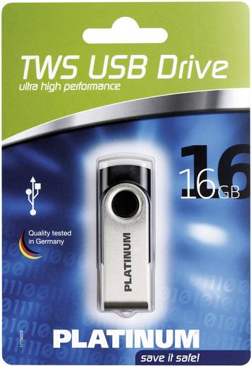 USB-Stick 16 GB Platinum TWS Schwarz 177558 USB 2.0