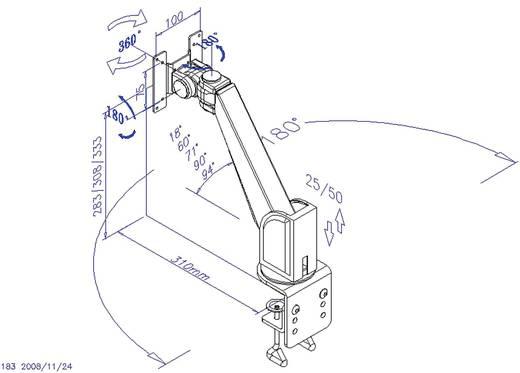 """Monitor-Tischhalterung 33,0 cm (13"""") - 55,9 cm (22"""") Neigbar+Schwenkbar, Rotierbar SpeaKa Professional 28235C41 Ausziehb"""