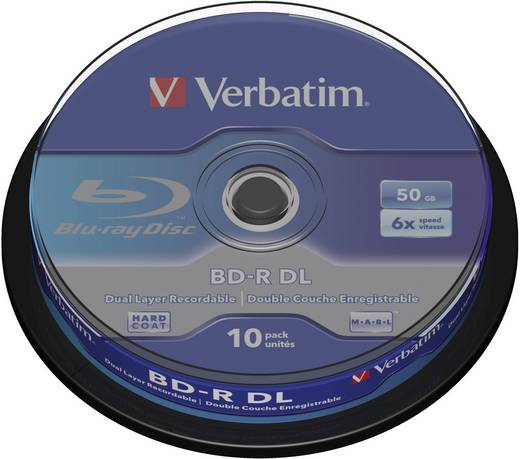 Blu-ray BD-R DL Rohling 50 GB Verbatim 43746 10 St. Spindel