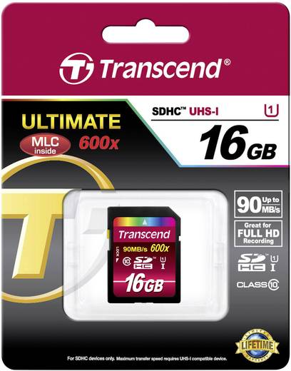 Transcend Ultimate SDHC-Karte 16 GB Class 10, UHS-I