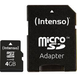 Paměťová karta microSDHC, 4 GB, Intenso 4 GB Micro SDHC-Card, Class 4, vč. SD adaptéru