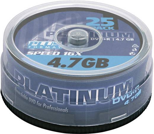 DVD+R Rohling 4.7 GB Platinum 100016 25 St. Spindel