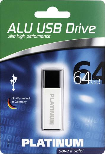 USB-Stick 64 GB Platinum ALU Silber 177573 USB 2.0