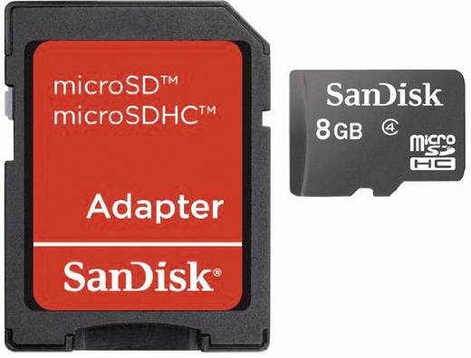 SanDisk MicroSDHC Karte 8 GB Class 4 inkl. SD-Adapter Mobile Pack