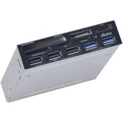 """Zabudovateľná čítačka kariet 8,9 cm (3,5"""") Akasa AK-ICR-17 AK-ICR-17, USB 2.0 (základná doska), USB 3.0, USB 3.0 (základná doska), SATA, Molex, čierna"""