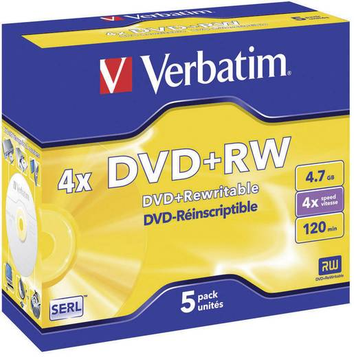 DVD+RW Rohling 4.7 GB Verbatim 43229 5 St. Jewelcase Wiederbeschreibbar, Silber Matte Oberfläche