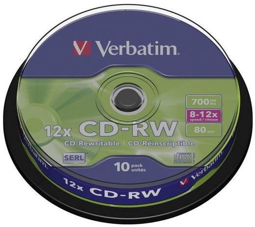 CD-RW Rohling 700 MB Verbatim 43480 10 St. Spindel Wiederbeschreibbar