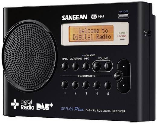 Sangean DPR-69+ DAB+ Kofferradio DAB+, UKW Akku-Ladefunktion Schwarz