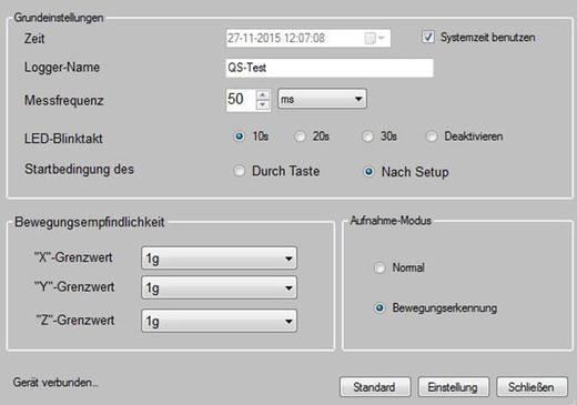 Beschleunigungs-Datenlogger VOLTCRAFT DL-131G -18 bis 18 G Kalibriert nach Werksstandard (ohne Zertifikat)