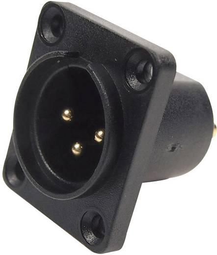 XLR-Steckverbinder Flanschstecker, Kontakte gerade Polzahl: 3 Schwarz Cliff CP30060 1 St.
