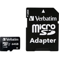 Paměťová karta microSDXC, 64 GB, Verbatim MICRO SDXC 64GB CL 10 ADAP, Class 10, vč. SD adaptéru