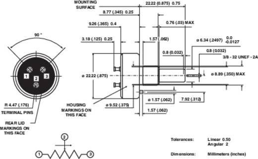 Leitplastik-Potentiometer Mono 1 W 20 kΩ Vishay 357 20K 1 St.